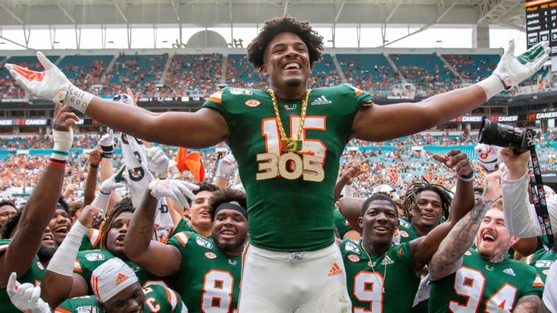 Miami Hurricanes DE Gregory Rousseau, a top draft prospect, opts out of 2020 season