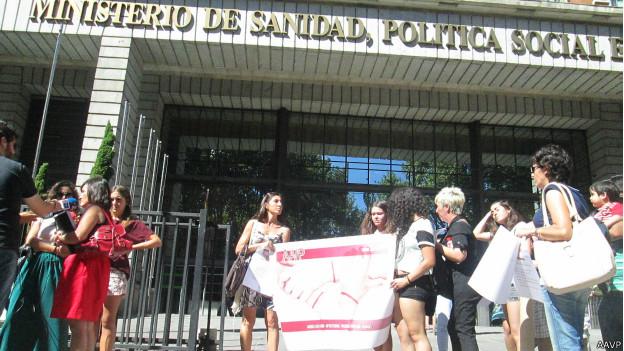Protesta de la  la Asociación de Afectadas por la Vacuna del Papiloma.
