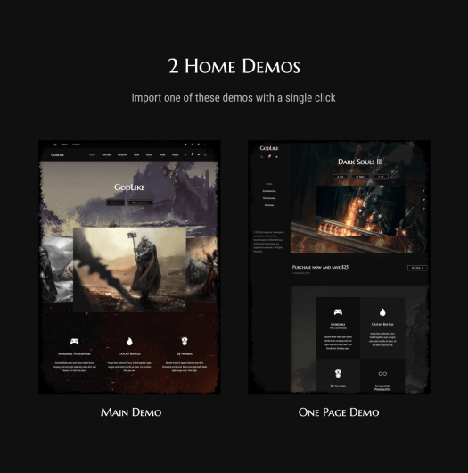 Godlike Gaming Theme with 2 Demos