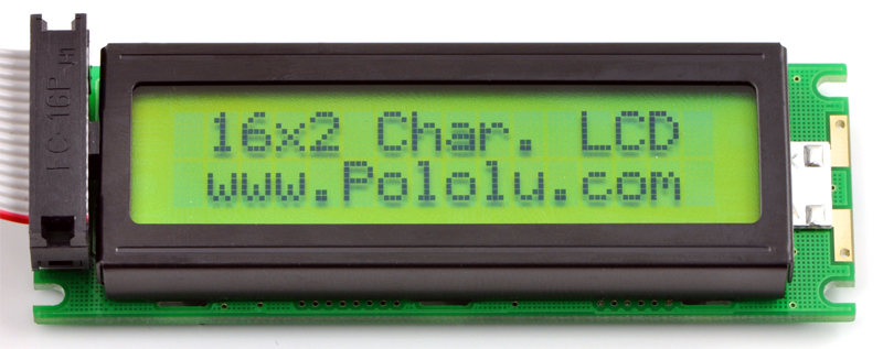 Pololu  16x2 Character LCD with LED Backlight (Parallel Interface), Black on Green