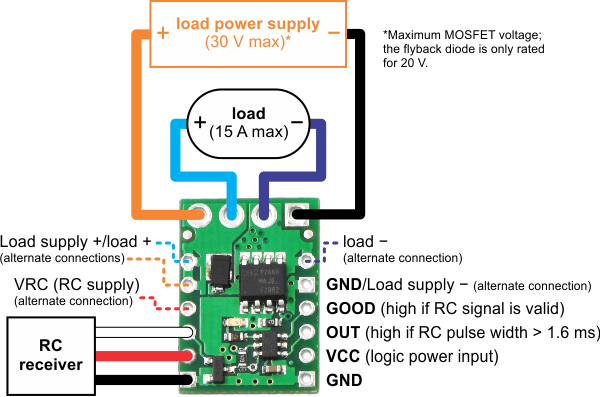 Pololu RC Switch with Medium LowSide MOSFET