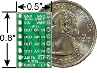 DRV8833 dual motor driver carrier, bottom view with dimensions