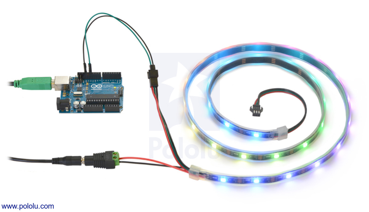 Controlling an addressable rgb led strip with an arduino and powering it from a 5v wall power adapter