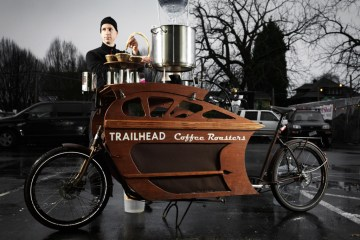 Charlie Wicker of Trailhead Coffee Roasters makes all his deliveries within the six-mile radius of urban Portland, Ore., on one of his custom-built cargo bikes. He can also pull over to brew and serve coffee.