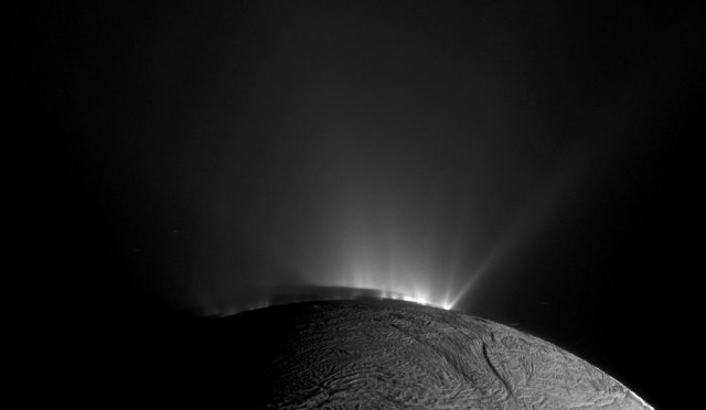 This Cassini narrow-angle camera image was taken as Cassini was looking across the south pole of Enceladus. At the time, the spacecraft was essentially in the moon's equatorial plane. The image was taken through the clear filter of the narrow angle camera on November 30, 2010, 1.4 years after southern autumnal equinox. The shadow of the body of Enceladus on the lower portions of the jets is clearly seen.