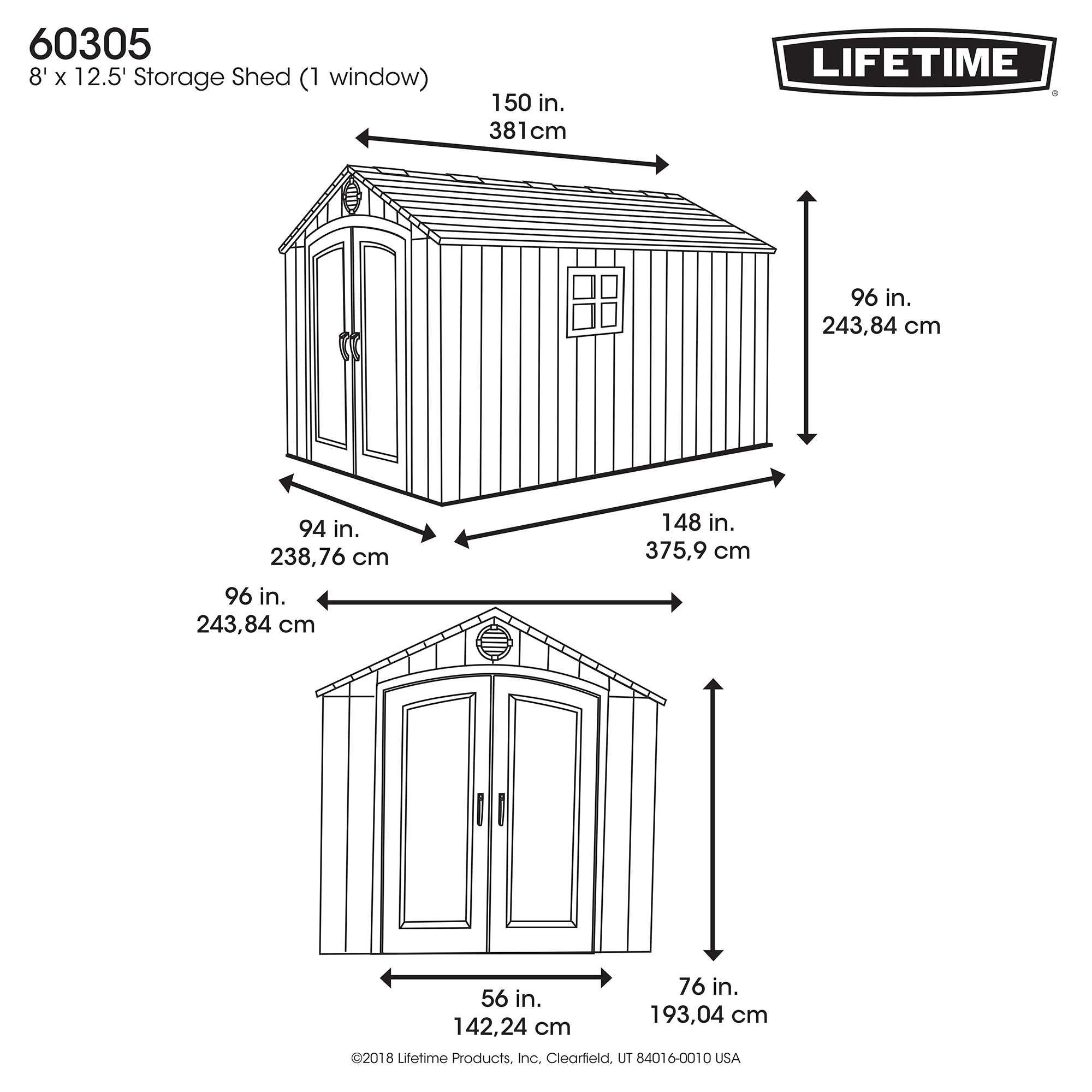 Lifetime Products 8 X 12 5 Resin Outdoor Storage Shed