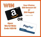 Win A $50 Gift Card Of Your Choice Or $50 Paypal! (02/01/2019)