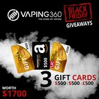 3 Giftcards worth $1700 (12/4/15)