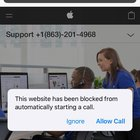 Here's a fake apple support number, btw, a google search says apple support is (800–692–7753).