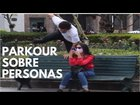 Doing parkour on people in the street