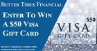 Enter daily to win a $50 Visa gift card {US} (03/31/2020)