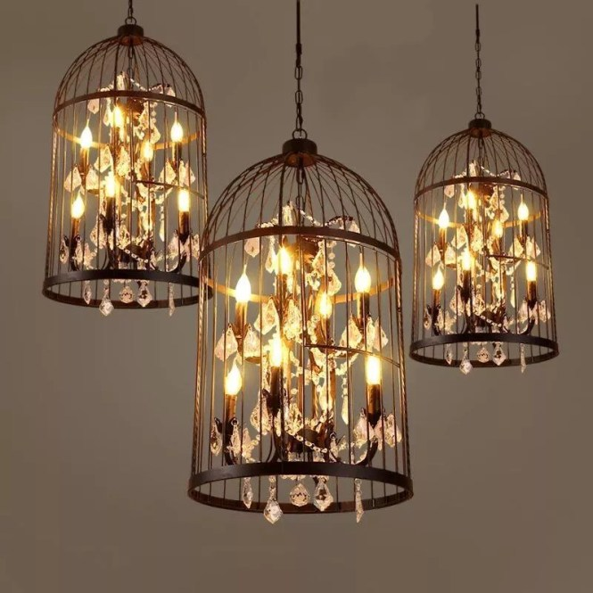 Retro Candle Lighting Iron Art Birdcage Crystal Chandeliers For Hotel Or Home Villa