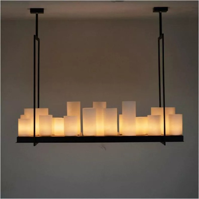 European Style Rectangle Modern Candle Decorative Chandelier Iron White Glass