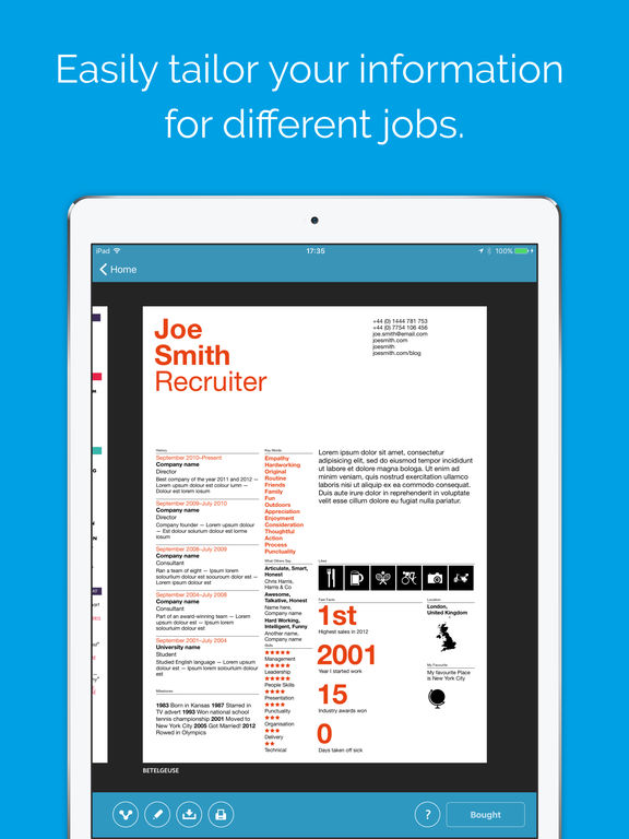 Shine Create Graphical Resumes In De App Store