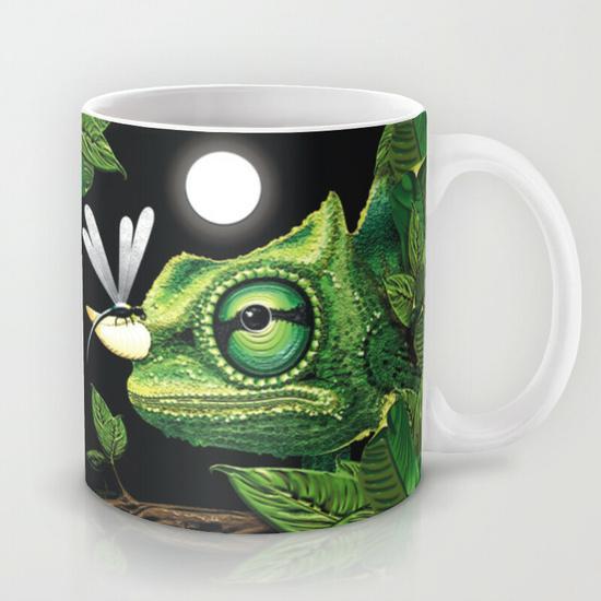 Chameleon and Dragonfly on Moonlight Mug by BluedarkArt ~ Society6 Shop