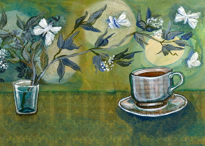 Green TEa with Moths and Moon by The Smallest Forest on society6