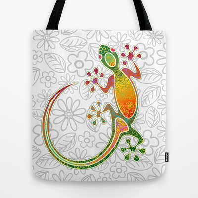 "Gecko Floral Tribal Art - TOTE BAG / 16"" X 16"" - $22.00"