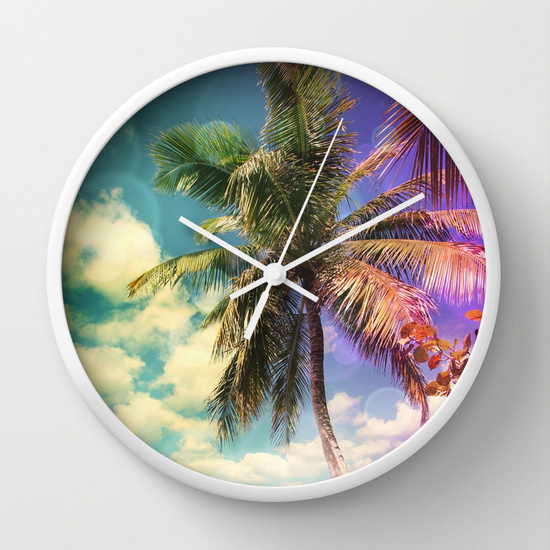 Prismatic Palm Wall Clock / White White by Christine aka stine1 on Society6