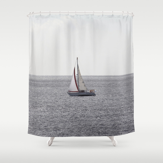 Sailing Boat on grey Sea by Christine aka stine1 on Society6