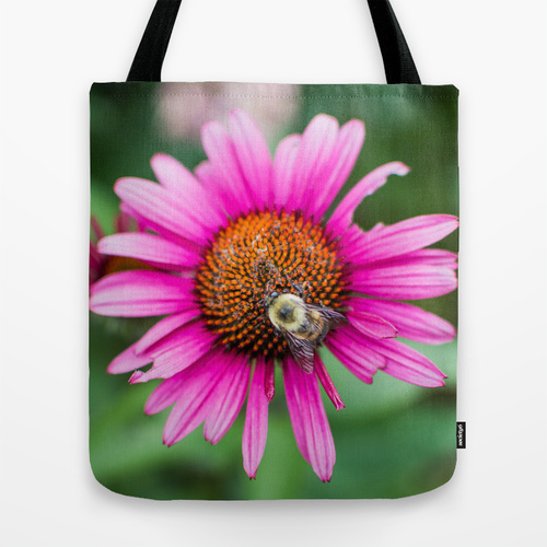 pink flower bee nature photograph photography tote bag purse gift Jessica Pei Society6