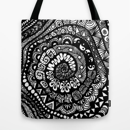 tree of tangles zentangle tote bag