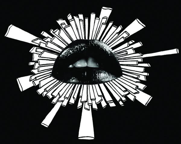 black lips zentangle drawing