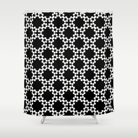 Black and White Flower Pattern Shower Curtains. Flower pattern done in the modern black and white style.