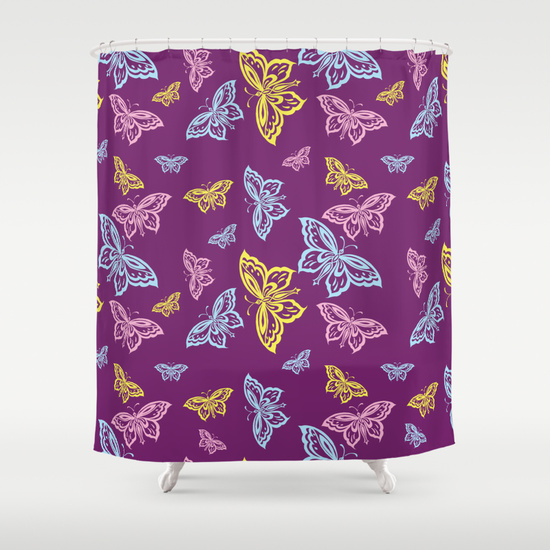 Colorful Butterfly Pattern Shower Curtains. Butterflies in bright yellow, pink, and blue on a dark deep purple background.