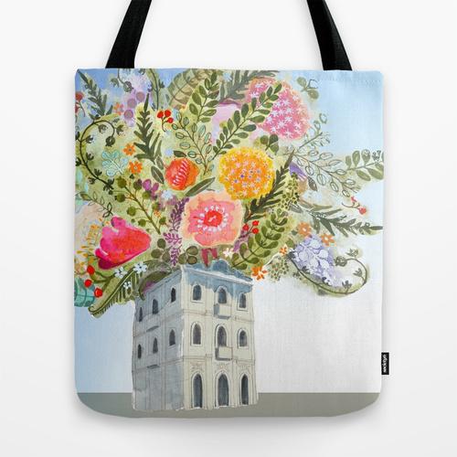 Casa das Flores tote bags on Society6