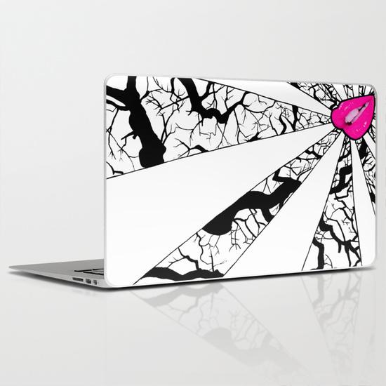 hot lips doodle art laptop skin