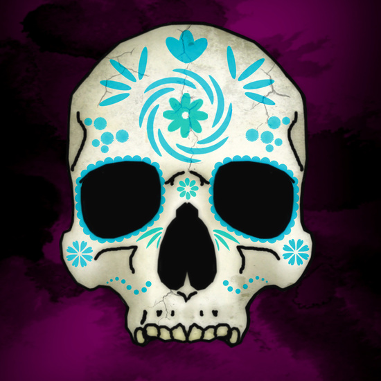 blue decorated sugar skull art print