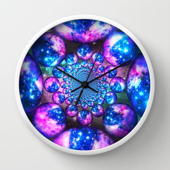 galaxy wall clock home decor