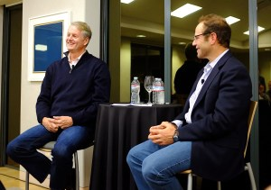 eBay CEO John Donahoe (l) with a16z GP Peter Levine
