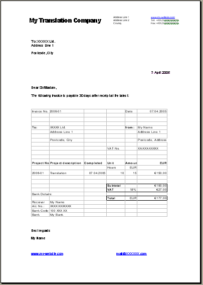 english invoice template. pure essence hairdressing station rental, Invoice templates