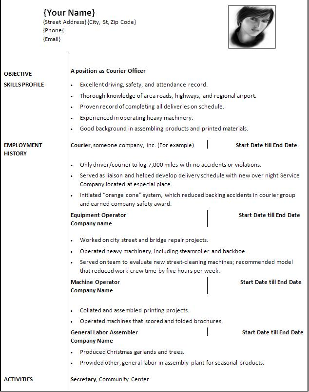 Select Resumes From Several Categories. Out Of The Box Resume