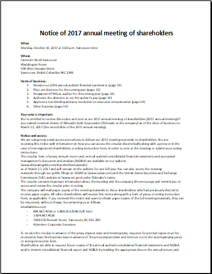 Shareholders Of Annual Meeting Notice Sample Graphics And