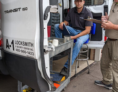 a-1-locksmith-and-security-center-on-site-van-with-logo