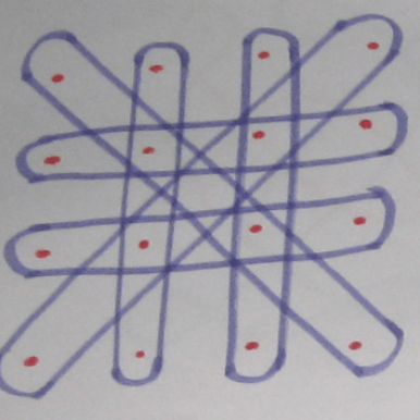 Kolam with Simple straight lines with curved end