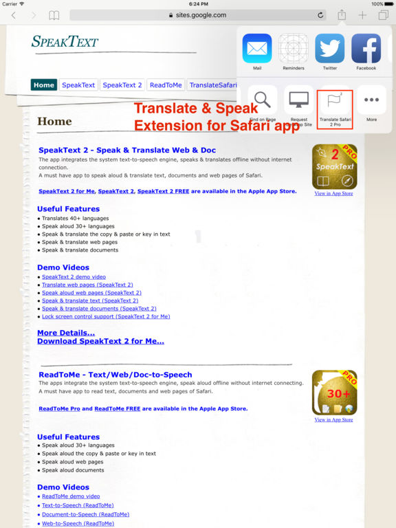 Translate 2 for Safari - Translate & Speak Web Screenshot