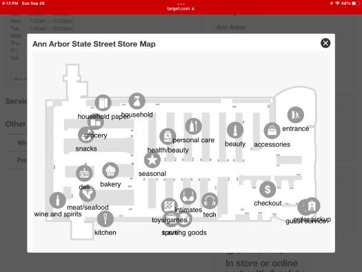 A map of the Ann Arbor State Street Target store.