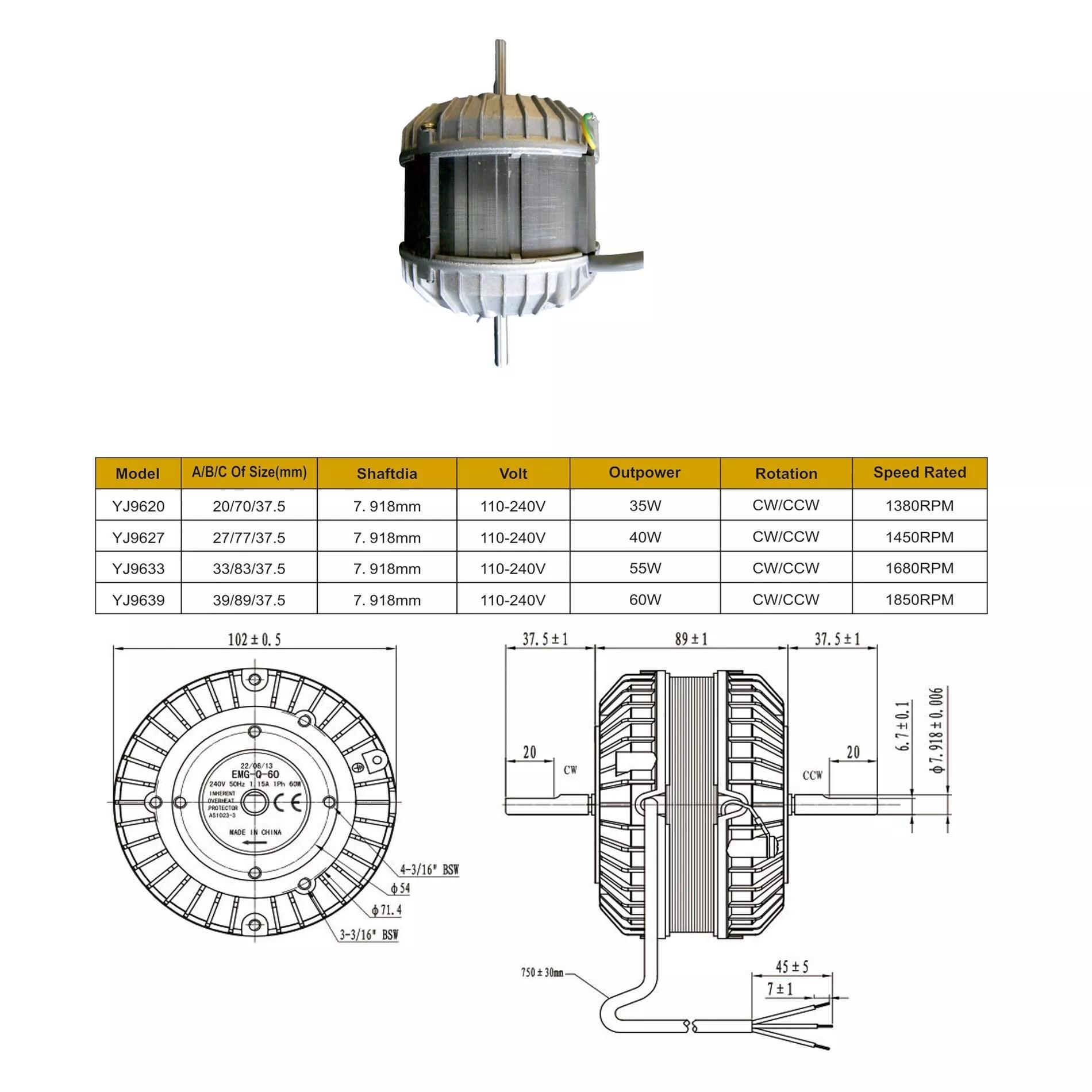 Yj96 Ice Chest Fan Motor