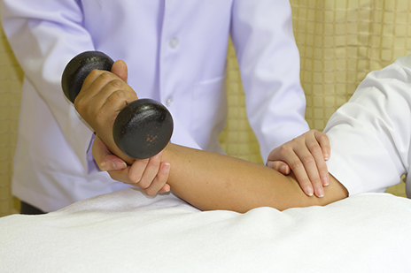 Rehab muscle training for elbow joint