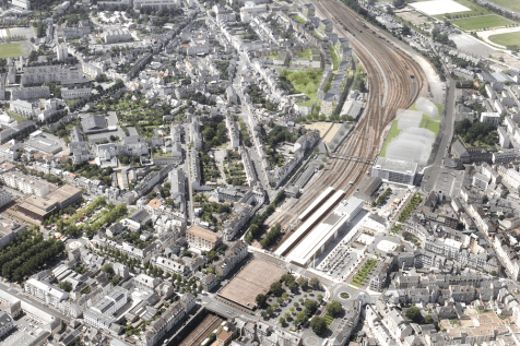 Gare +, Angers, vue aérienne du projet, ANMA