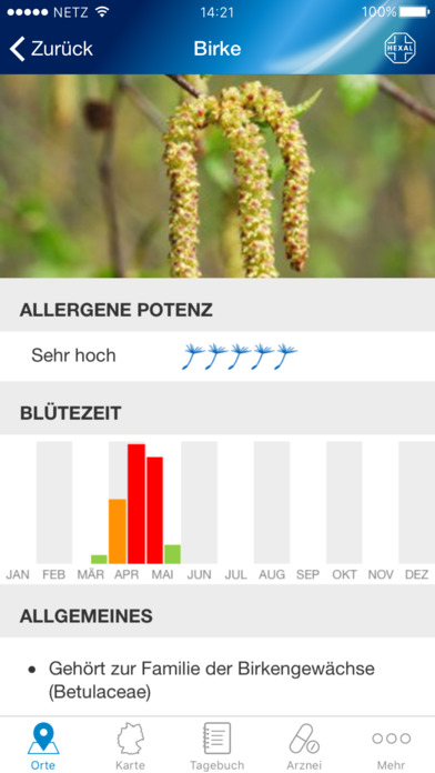 Pollenflug-Vorhersage Screenshot