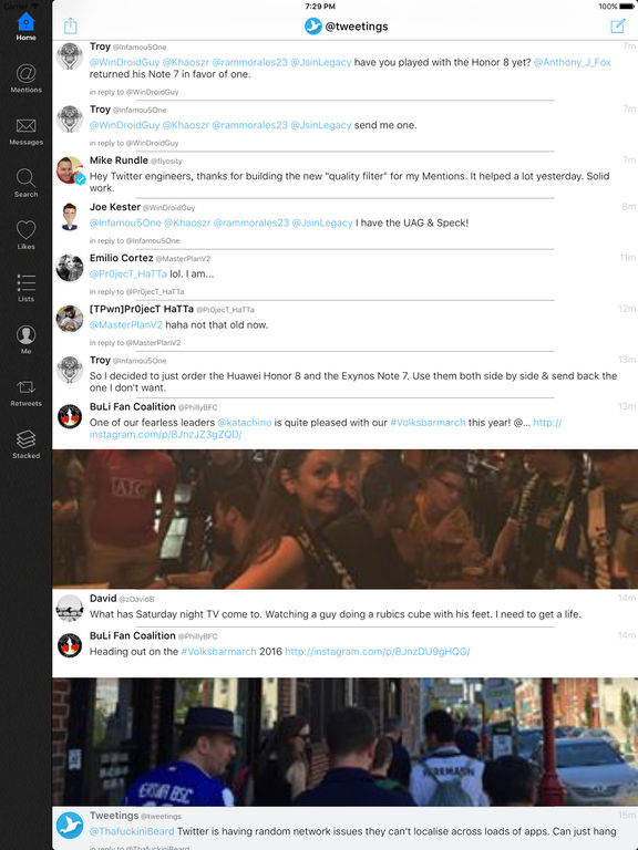 Tweetings for Twitter (iPad edition) Screenshot
