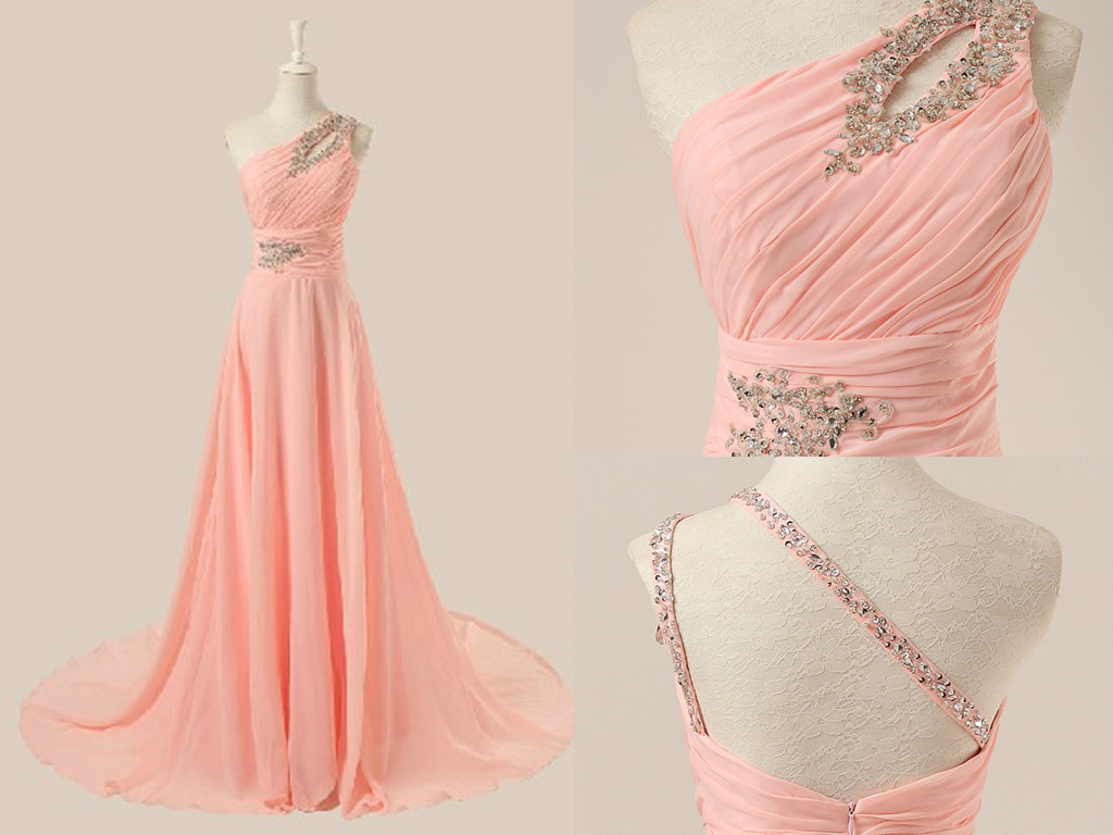 Handmade Delicate Pink One Shoulder Beadings Prom Gown 2016, Elegant Prom Dresses 2016, Evening