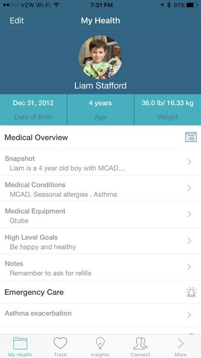 Screenshot do app Caremap - navigate your child's healthcare