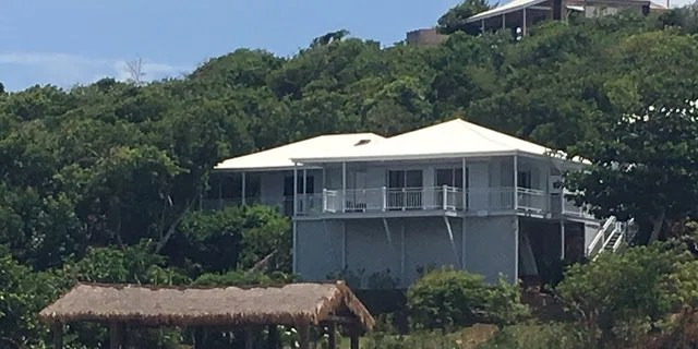 A slate gray and white building on Jeffrey Epstein's Great St. James Island. The disgraced financier bought the island in 2016 for $18 million. (Barnini Chakraborty/Fox News)