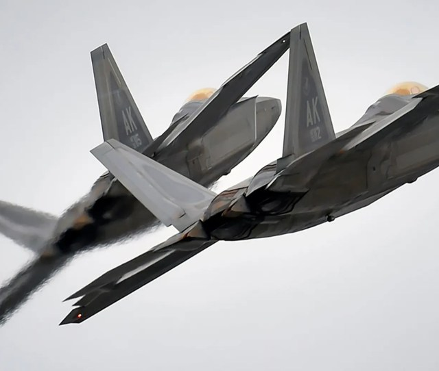 Two F 22 Fighter Jets From The 3rd Wing At Joint Base Elmendorf Richardson