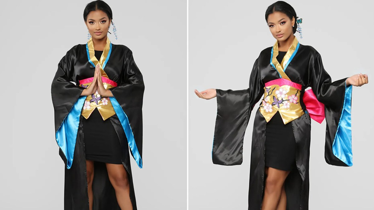 The costume kit comes with hair sticks, a kimono, a revealing miniskirt and an obi sash — everything you need to dress up as a really terrible idea, critics say.